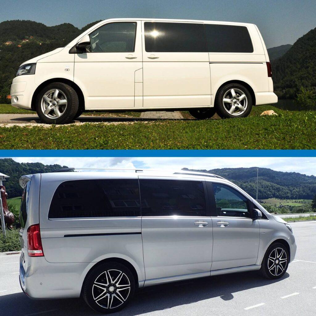 Volkswagen T5 Caravelle in Mercedes-Benz V razred